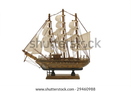 The ship on a white background