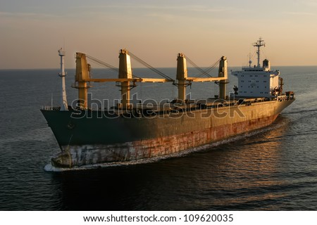 The ship on the deep blue. - stock photo