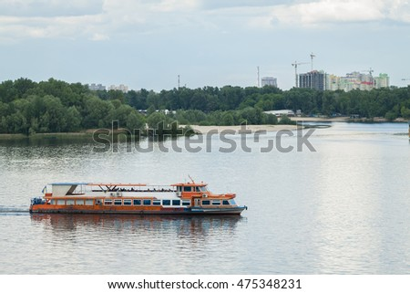 The ship sails along the Dnieper