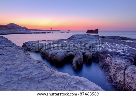 The shipwreck at Sarakiniko, Milos island, Cyclades, Greece - stock photo