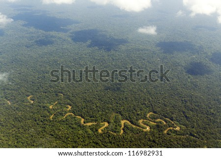 The Shiripuno river in the Ecuadorian Amazon from the air - stock photo