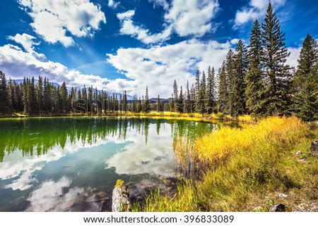 The shoaled round lake in autumn wood. Autumn day in Jasper National Park in the Rockies of Canada