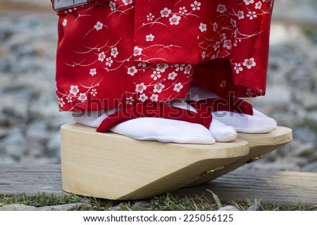 The Shoes and Sock of Geiko or well know as Geisha. - stock photo