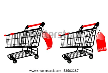 the Shopping cart with Sale label (vector version in portfolio) - stock photo