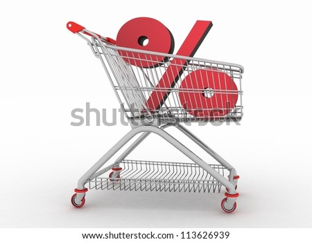 the shopping cart with sign of percentage inwardly - stock photo
