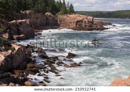 The shore of Acadia national park - stock photo