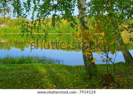 The shore of beautiful lake. Finland (3) - stock photo