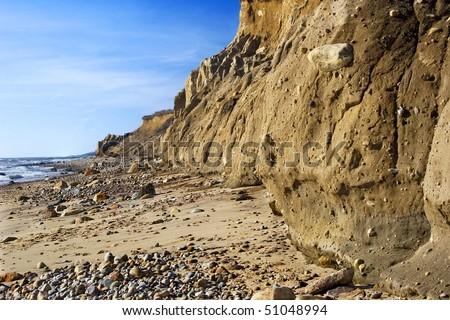 The shoreline and cliffs at  Montauk Point, Long Island, NY. - stock photo