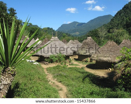 The shot of huts in a village of the Tayrona indians, on the way to the lost city. Colombia.