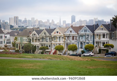 The shot of seven houses called The Painted Ladies at Alamo Square, San Francisco, USA