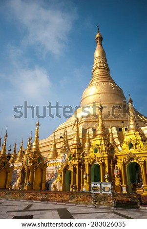 The Shwedagon Pagoda in Yangon. It is one of the most famous pagoda in the world and the main attraction of Yangon, locally known as Shwedagon Zedi Daw - stock photo