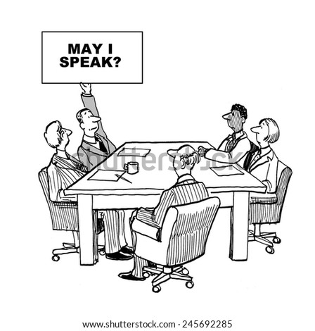 The shy businessman raises a sign that says: May i speak? - stock photo