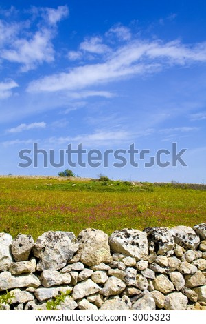The sicilian landscape, in first plane the characteristic rock wall - stock photo
