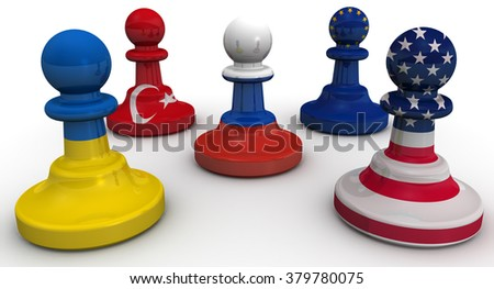 The Siege Of Russia. Chess pieces on the board - the pawn in the colors of the Russian flag surrounded by the pawns in colors of the flags of the United States, Ukraine, EU, Turkey - stock photo