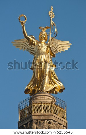 The Siegessaule is the Victory Column located on the Tiergarten at Berlin, Germany - stock photo