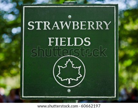 The sign along the path as you enter Strawberry Fields in New York City's Central Park. - stock photo