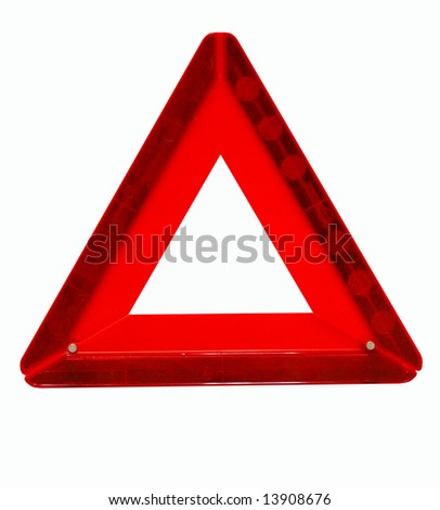 "The Sign ""Emergency stop"".The Traffic sign of the red color, triangular form, emergency stop. Insulated."