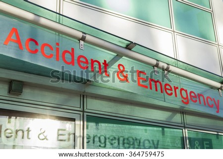 The sign for an Accident and Emergency Department. - stock photo