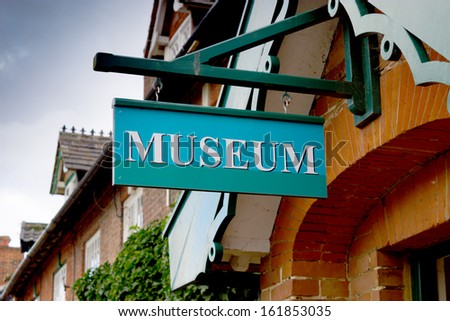 The sign for the museum, in the coastal village of Dunwich, Suffolk, UK - stock photo