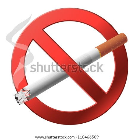 The sign no smoking illustration on white background - stock photo