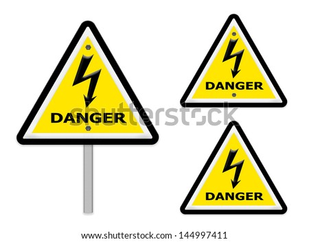 The Sign of danger of electricity from high voltage ,part of a series.