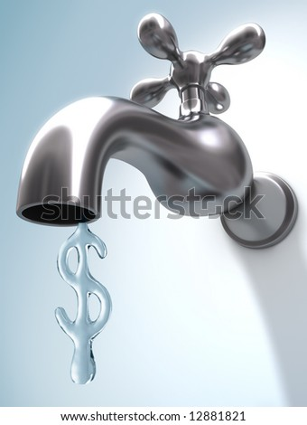 The sign of dollar, in the format of water, represents the value of water.