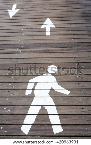 The sign of pedestrian marked on the street, Safety concept. - stock photo