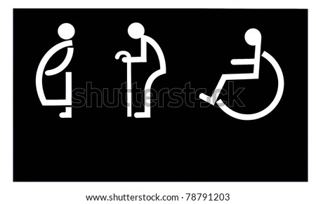 The Sign of restroom for old man and handicap and pregnant on black background - stock photo