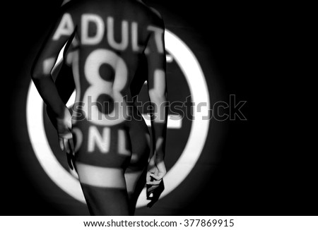 the 18+ sign on body - stock photo
