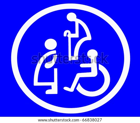 The Sign restroom of old man and old women and handicap and pregnant