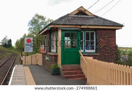 The Signal Box on the Platform at Okehampton Train Station on Dartmoor, Devon, England, UK - stock photo