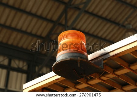The Signalling light on the car forklift - stock photo
