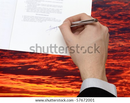 The Signature of Business Contract on the dramatically Sky - stock photo