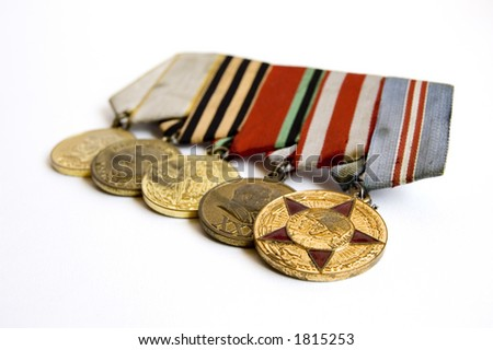 The signs of soviet heroes - stock photo