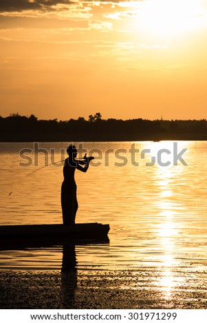 The silhouette fishing