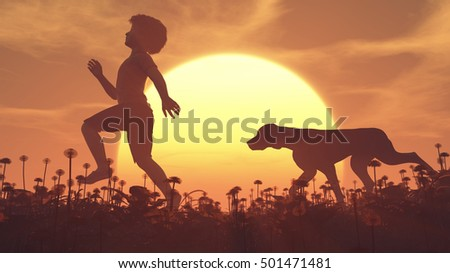 The silhouette of a child and a dog running on a field at sunset.  This is a 3d render illustration