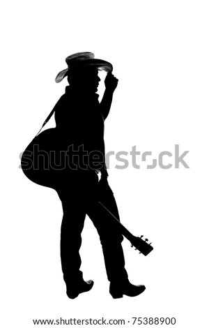 The silhouette of a cowboy which is a country singer and guitar player, isolated on white. He is holding his hand on his hat and the guitar is with the strap on his shoulder. - stock photo