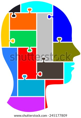 The silhouette of a human head seen as a puzzle one can pull apart and bring the pieces together.