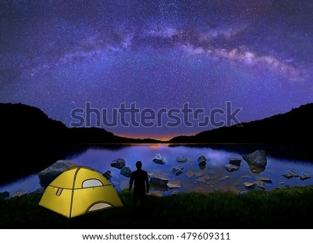 The silhouette of a man beside a glowing tent on a lakeshore with The Milky Way shining down from above.