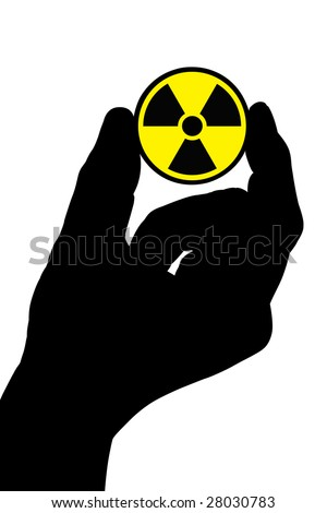 The silhouette of a man's hand holds a radiation sign. Isolated on white [with clipping path]. - stock photo