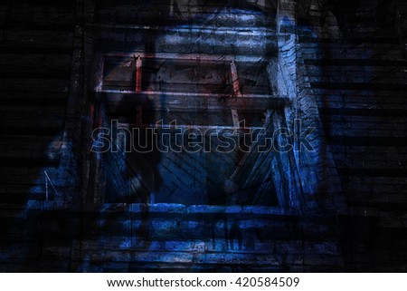 The silhouette of a woman in a black alley (double exposure) - stock photo