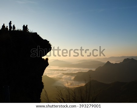 The silhouette of Phu Chi Fah mountain in Chiangrai province of Thailand.