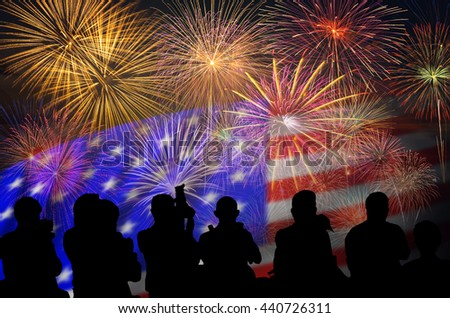 The silhouette of reporter photograph the Fantastic festive Fireworks Celebrate over the United state of America USA flag background, Independence day concept
