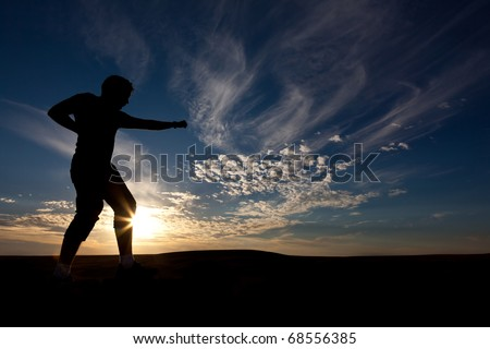 The silhouette of the guy against a decline, the beautiful sky, is engaged in martial arts - stock photo