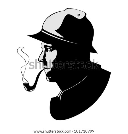 the silhouette pipe smoker - vector version in portfolio - stock photo