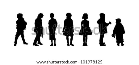 The silhouettes of boys and girls of preschool age - stock photo