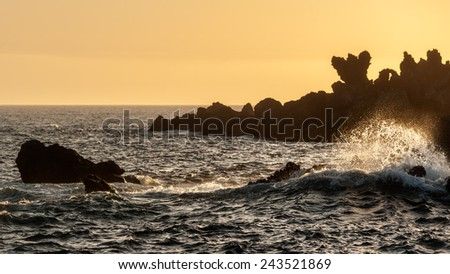 The silhouettes of the rocks at sunset Canary Islands, Tenerife Spain - stock photo