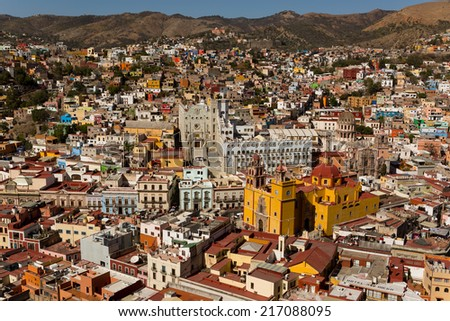 the silver mining town of Guanajuato, Mexico - stock photo