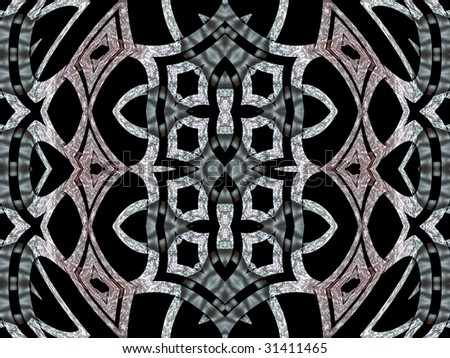 The silver pattern / design / tracery isolated on a black background