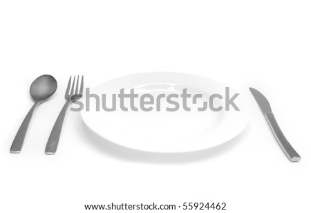 The Silver plug and spoon isolated on grey background - stock photo